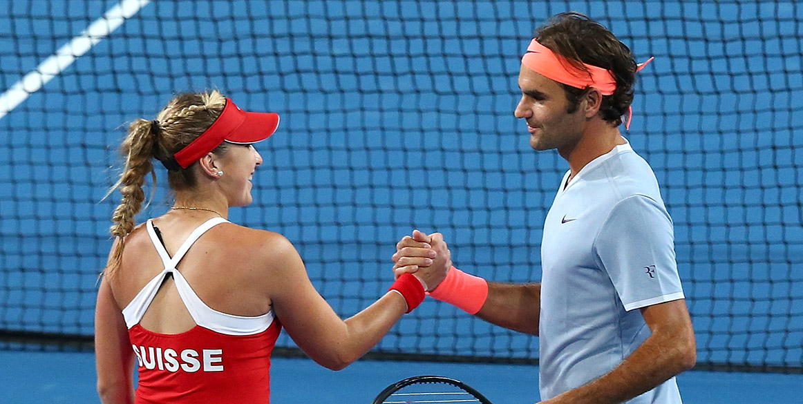 Belinda Bencic (L) and Roger Federer completed a 3-0 sweep for Switzerland over Great Britain at the Hopman Cup; Getty Images