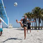 Kristina Mladenovic enjoyed a bit of beach football. Photo: Getty Images