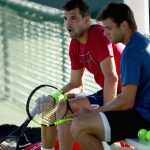 Grigor Dimitrov and Ryan Harrison practiced in the desert. Photo: Getty Images