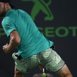 Jack Sock busted out a tweener during his win over Jiri Vesely. Photo: Getty Images