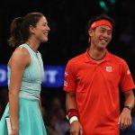 Kei Nishikori and Garbine Muguruza at the World Tennis Day exo in Madison Square Garden. Photo: Getty Images