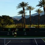 Nick Kyrgios practices in the Indian Wells evening. Photo: Getty Images
