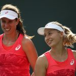 Daria Gavrilova and Jo Konta crashed out in the opening round of the doubles. Photo: Getty Images