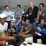 Rafa Nadal took his turn to speak to the press. Photo: Getty Images
