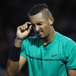 Kyrgios looked troubled at the end of the second set, but recovered to win the match. Photo: Getty Images