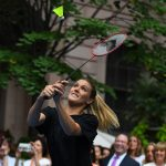 That's not how you hit a shuttlecock, Genie. Photo: Getty Images