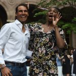 Not sure what Rafa's left hand is doing but he certainly got a reaction from Venus. Photo: Getty Images