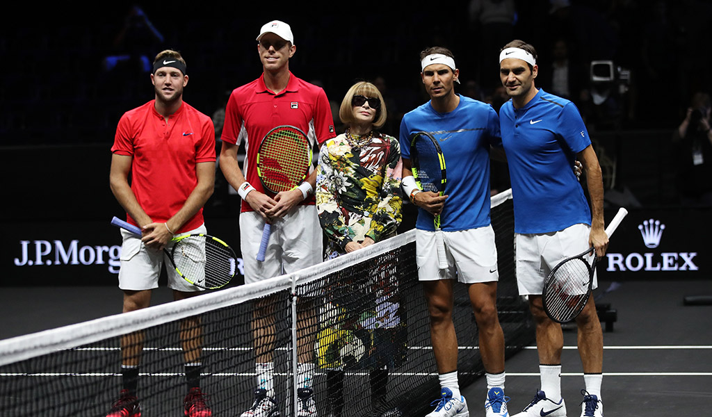 Joined on court by Anna Wintour (centre), Team World (left, represented by Jack Sock and Sam Querrey) took on Team Europe (represented by Rafael Nadal and Roger Federer) at the Laver Cup in Prague; Getty Images