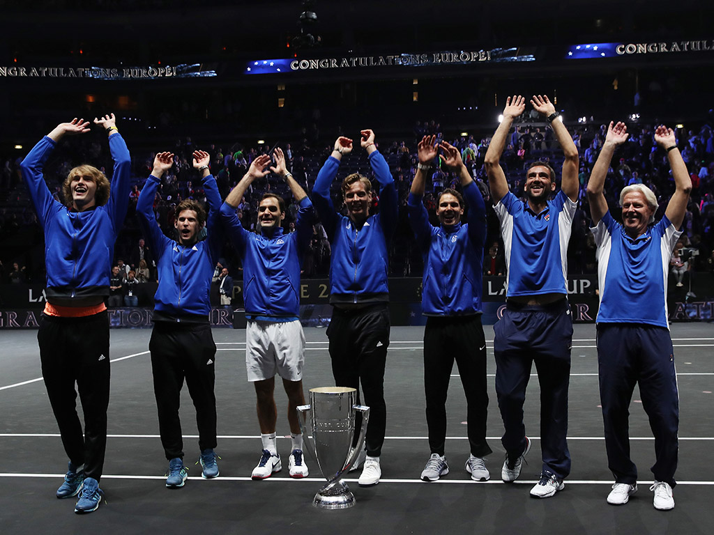 Team Europe (L-R Alexander Zverev, Dominic Thiem, Roger Federer, Tomas Berdych, Rafael Nadal, Marin Cilic and Bjorn Borg) celebrates at the O2 Arena in Prague; Getty Images