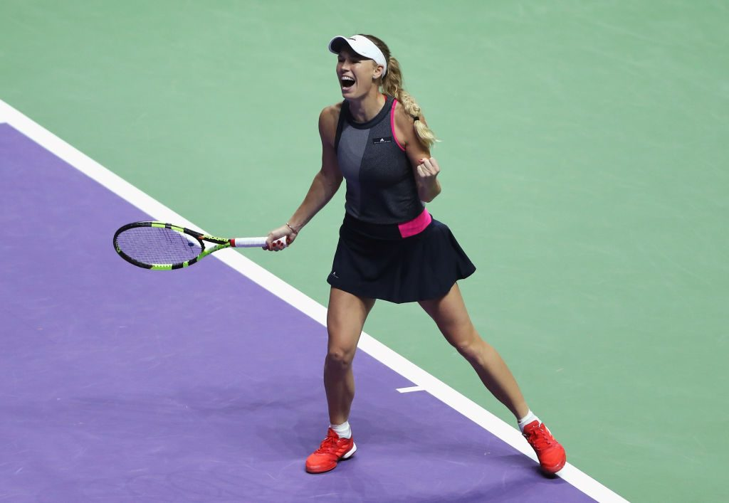 Caroline Wozniacki's biggest career title in Singapore was helped by increased aggression; Getty Images