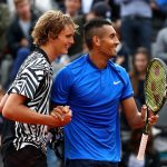 Nick Kyrgios (R) and Alexander Zverev in action in doubles at Roland Garros in 2016; Getty Images