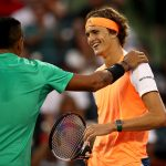 Nick Kyrgios (L) and Alexander Zverev share a light moment during their quarterfinal match at the Miami Open in 2017; Getty Images