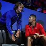 On opposing teams at the Laver Cup, Alexander Zverev (left, Team Europe) and Nick Kyrgios (Team World) still had time for a chat; Getty Images
