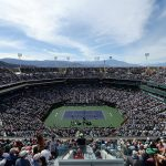 A view over Stadium 1 on finals day at Indian Wells; Getty Images
