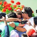 Juan Martin del Potro celebrates with his team; Getty Images