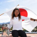 Naomi Osaka poses with her Indian Wells champion's trophy; Getty Images