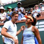 Naomi Osaka (R) celebrates with coach Sascha Bajin; Getty Images